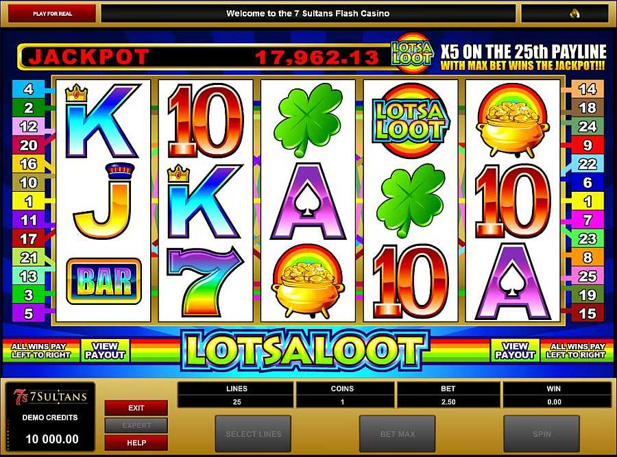 Lots a Loot 5 Reel Progressive Jackpot - Norsk Microgaming Casino