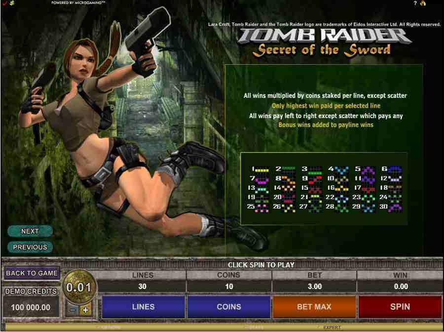 Tomb Raider II Winning Paylines