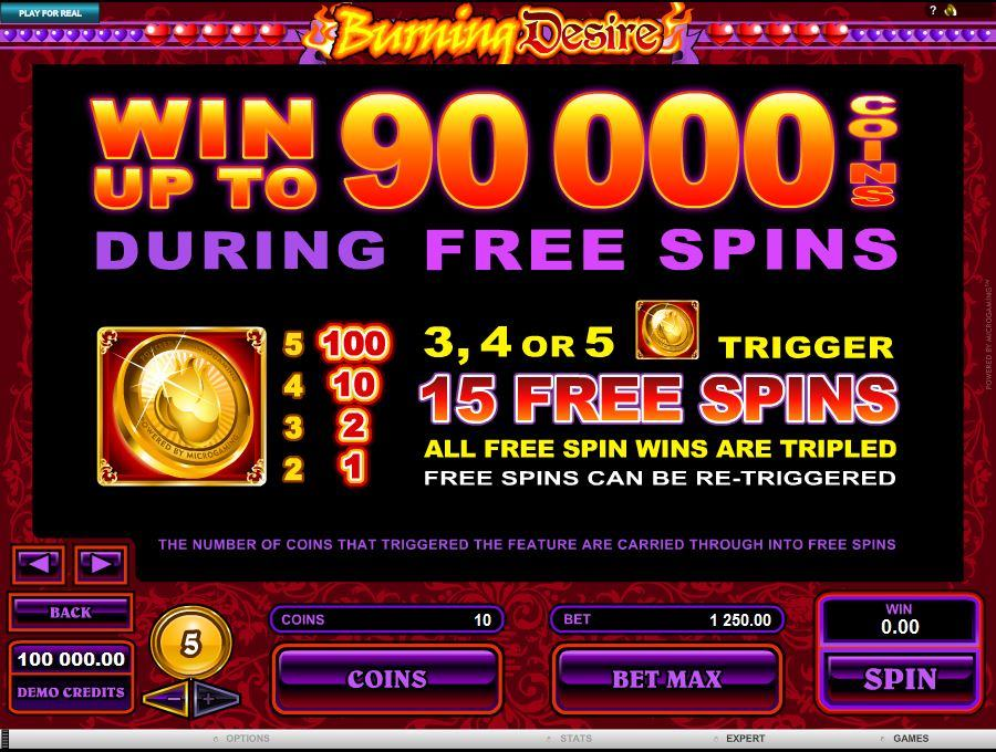 Burning Desire Free Spins Feature