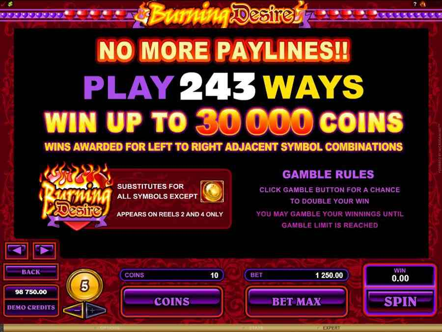 Burning Desire Win 30000 Coins