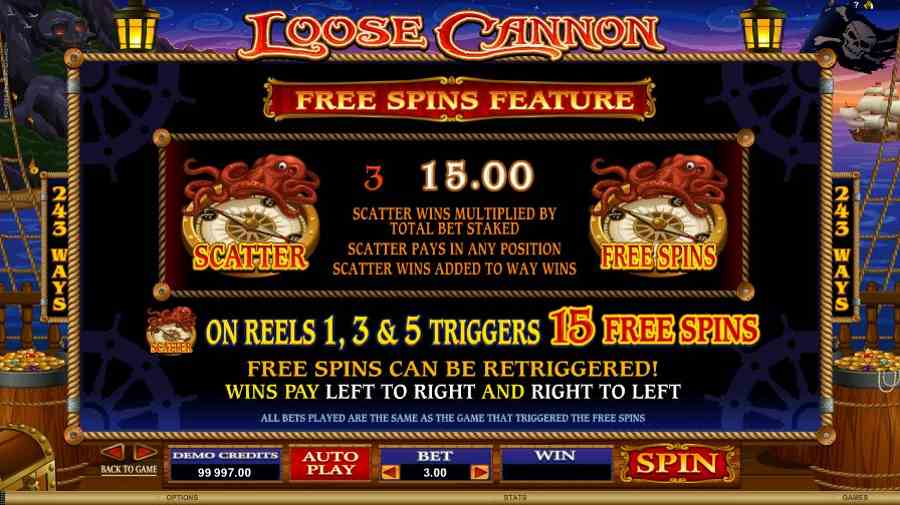 Loose Cannon Free Spins Feature