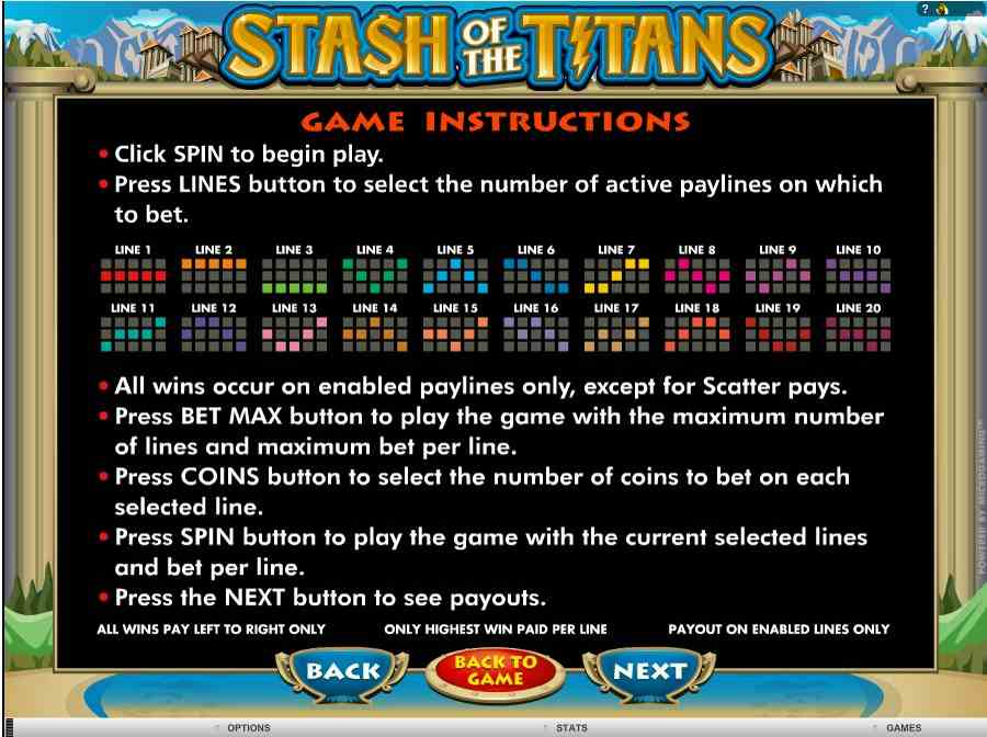 Stash of the titans Winning Pay Lines