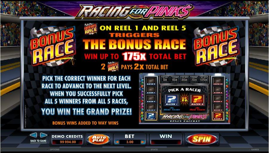 Racing For Pinks Bonus Race Feature