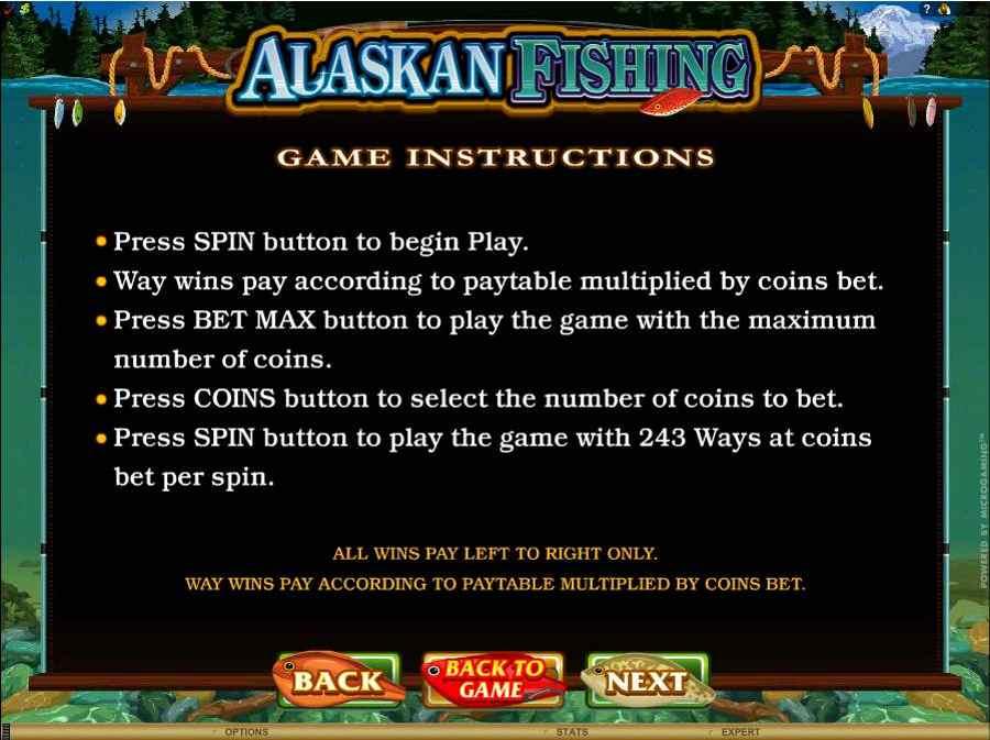 Alaskan Fishing Game Instructions