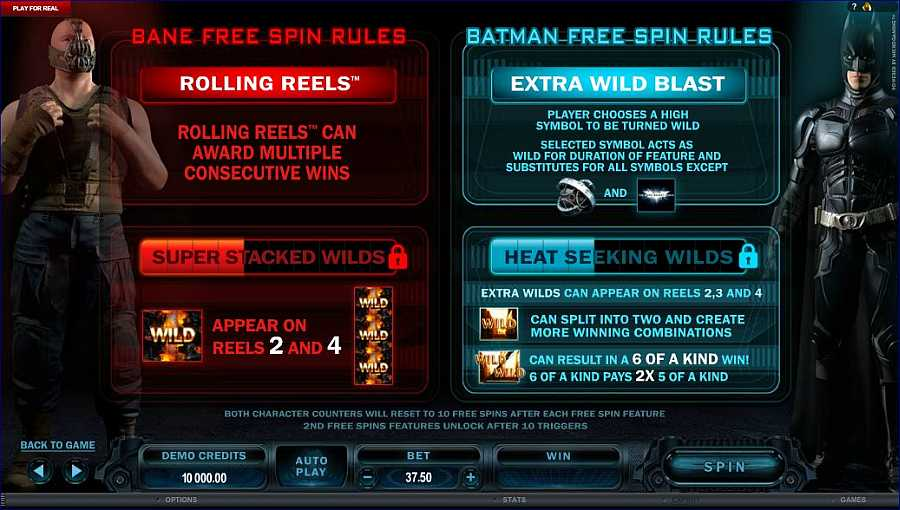 The Dark Knight Rises Free Spins Rules