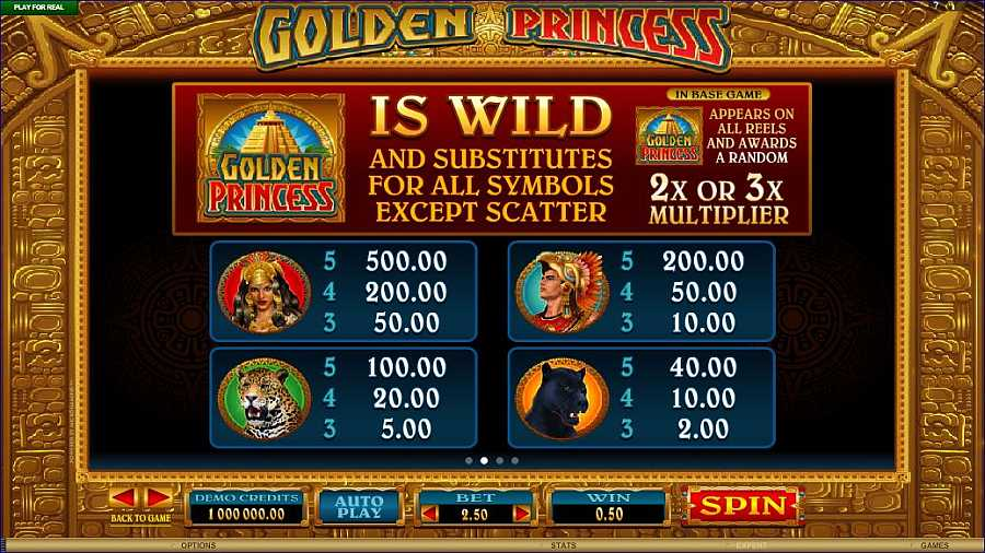 Golden Princess Symbols Paytable