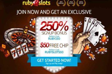 Ruby Slots No Deposit Code: RUBYSLOT50
