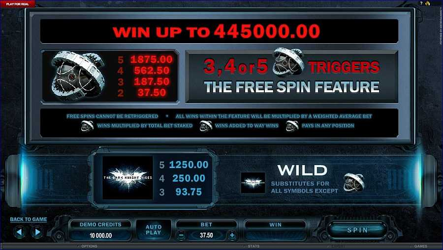 The Dark Knight Rises Free Spins Feature