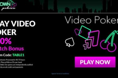 Uptown Pokies Casino Match Bonus on Video Poker