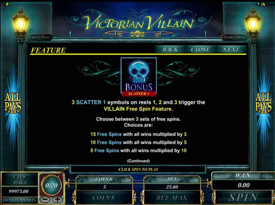 Victorian Villain Free Spins Feature