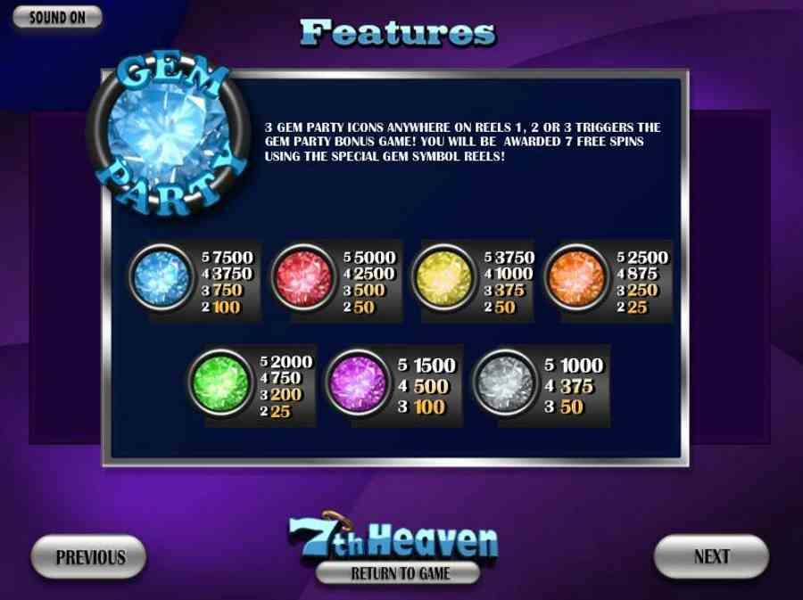 7th Heaven Gem Pay table
