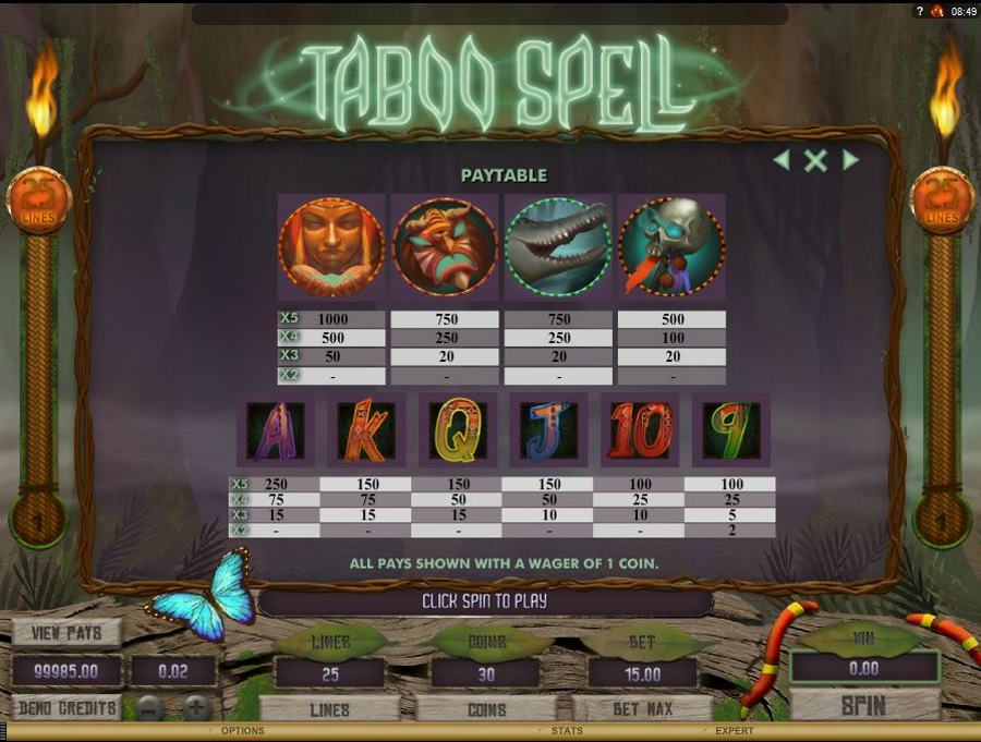Taboo Spell Symbols Pay table