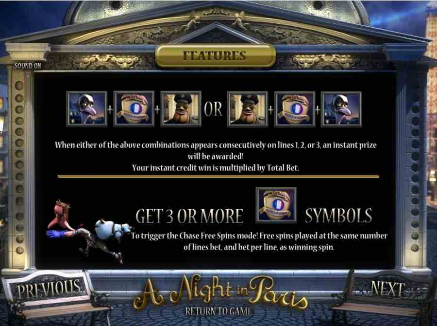 A Night in Paris Free Spins Tigger Feature