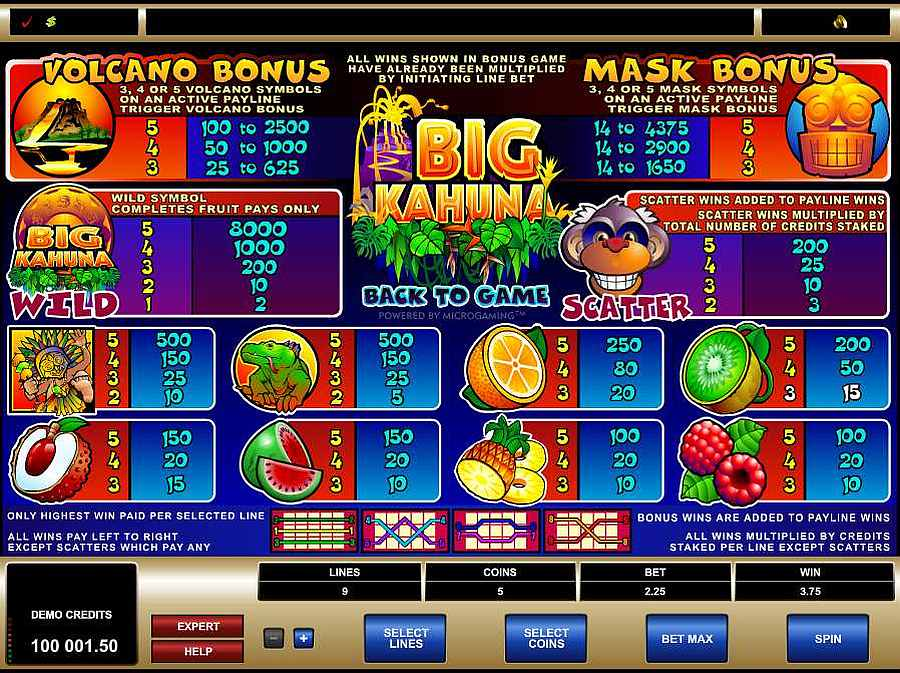 Big Kahuna Symbols Paytable