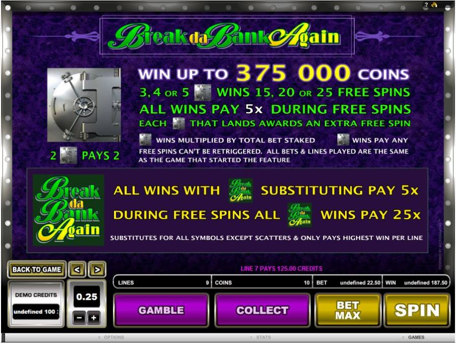 Break Da Bank Again Bonus Feature