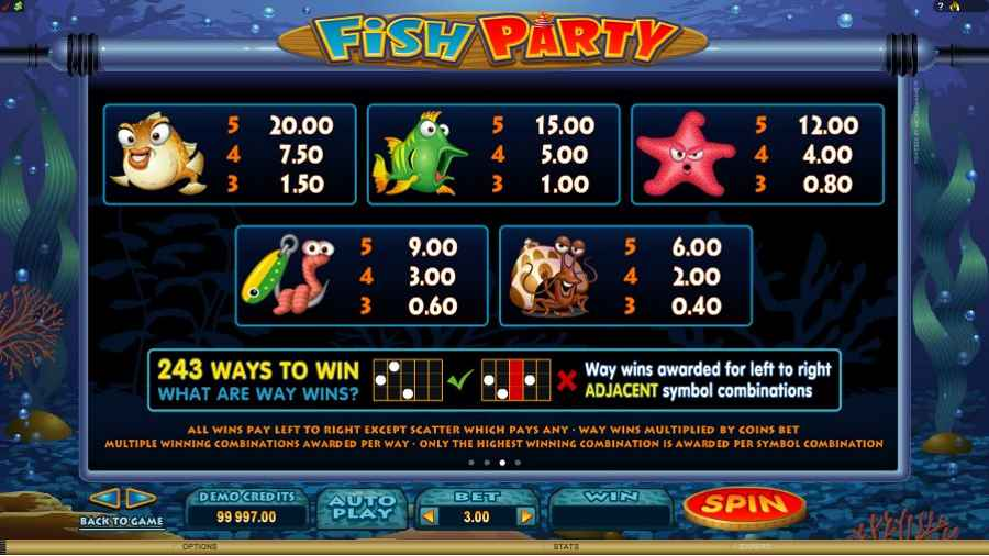 Fish Party 243 Ways Paylines