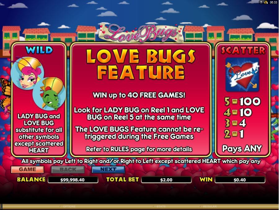 Love bug Win Free Games Feature