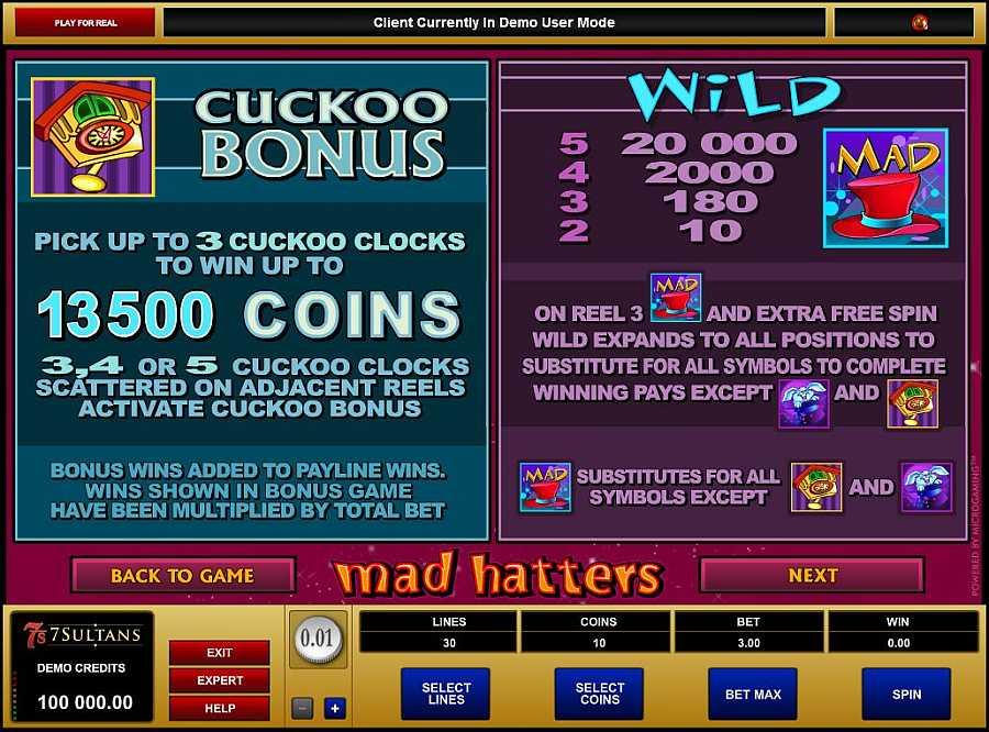 Mad hatters Bonus Feature