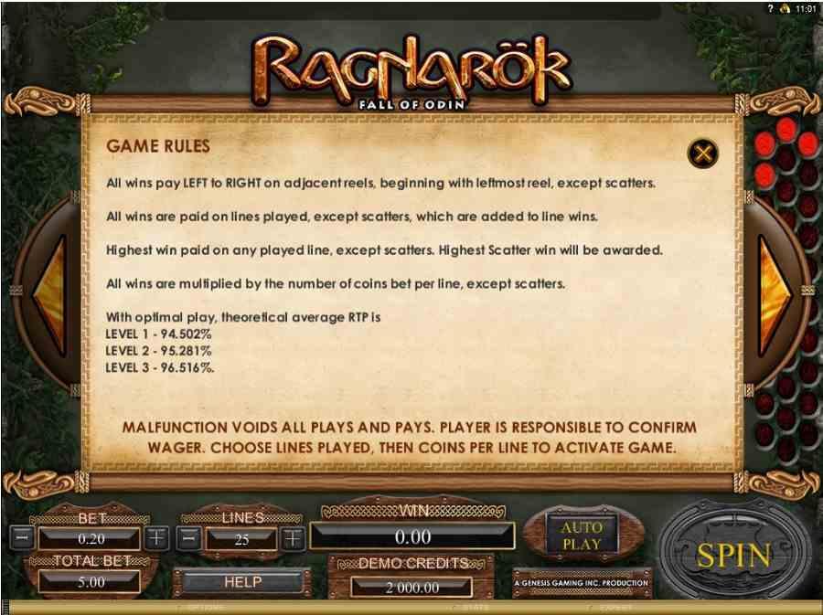 Ragnarok Fall of Odin Game Rules