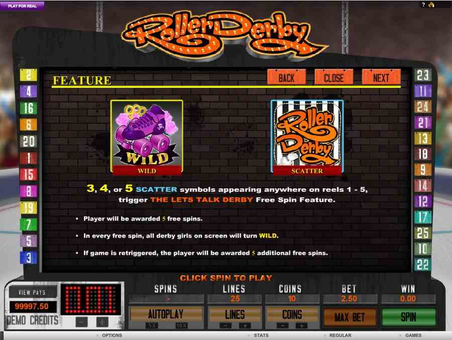 Roller Derby Free Spins Feature
