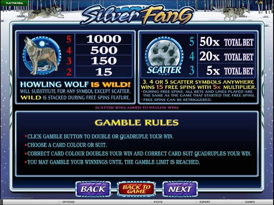 Silver Fang Bonus Pay table