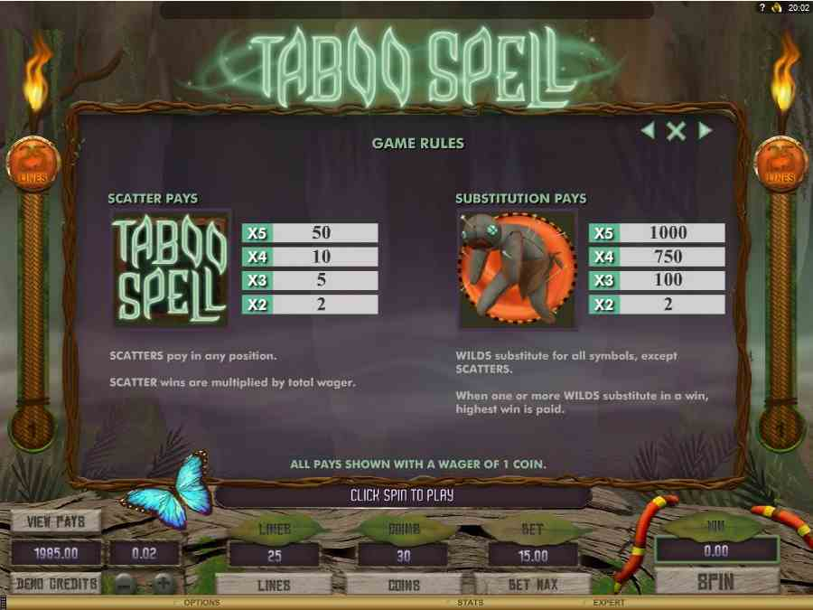 Taboo Spell Bonus Features