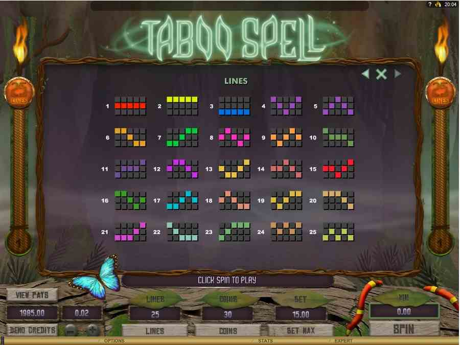 Taboo Spell Winning Pay Lines