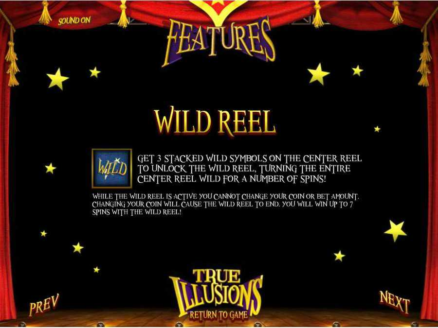 True Illusions Wild Reel Features Screen