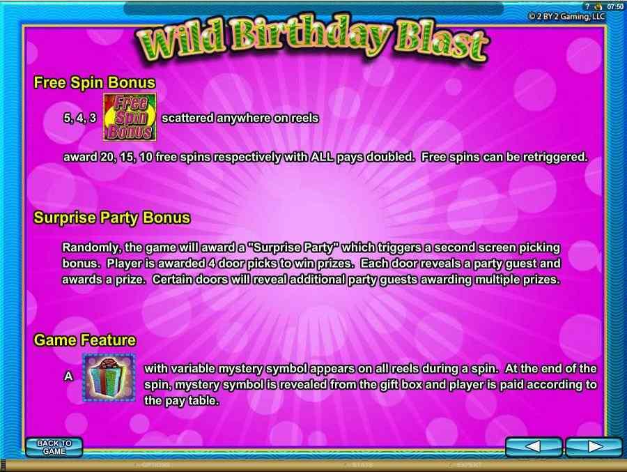 Wild birthday Blast Bonus Features