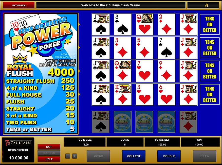 Play 10s or Better Videopoker Online at Casino.com Australia