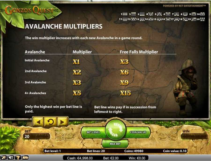 Gonzos Quest Avalanche Multiplier Table Screen