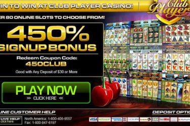 Club Player Sign up Bonus Code 450CLUB
