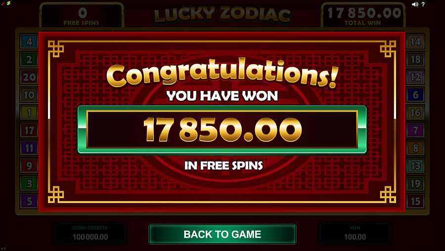 Lucky Zodiac Free Spins Winner
