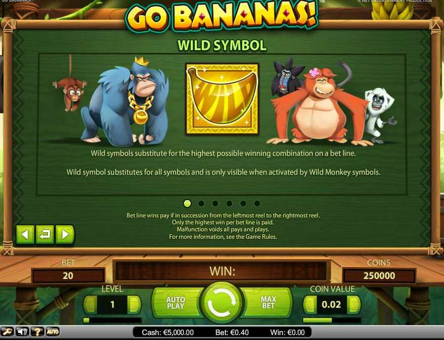 Go Bananas Wild Symbol Feature