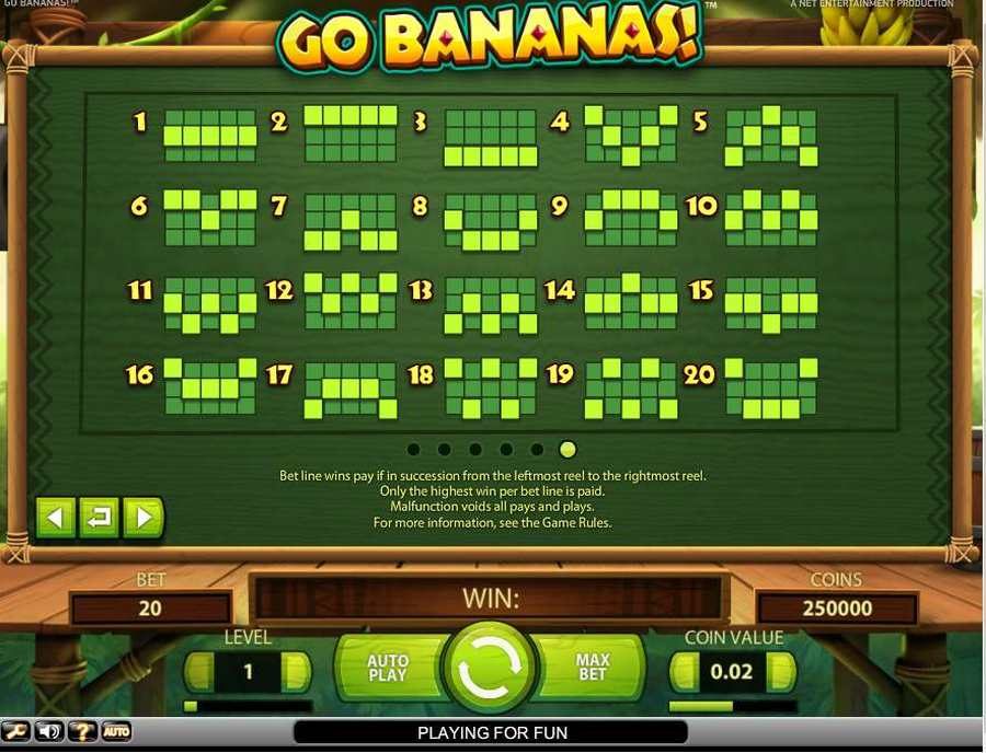 Go Bananas Winning Pay Lines