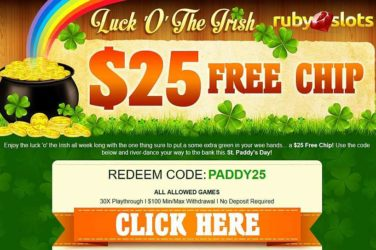 Ruby Slots No Deposit Bonus PADDY25