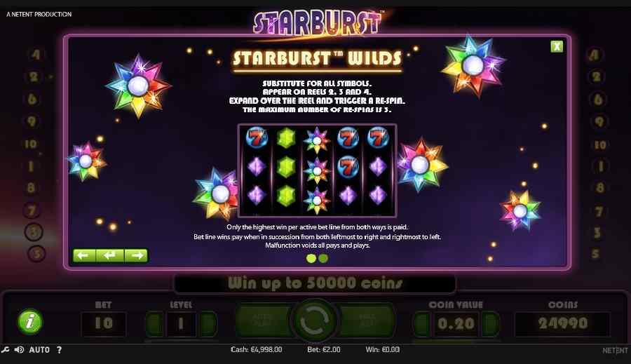 Starburst Slot Wilds Screen