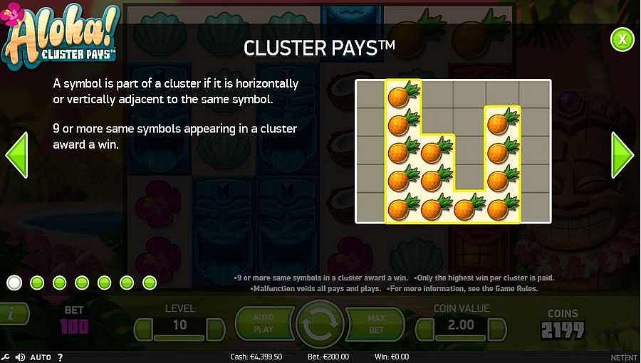 Aloha Cluster Pays Slots Cluster Pays Table