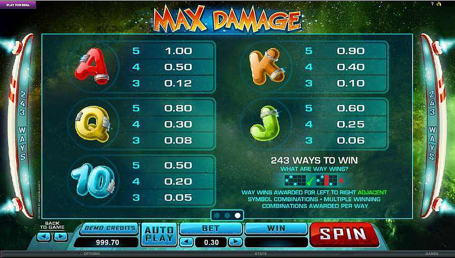 Max Damage Cards Symbol Pay table