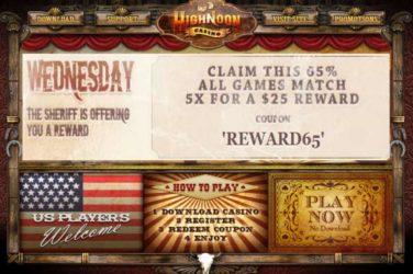 High Noon Wednesday Deposit Bonus