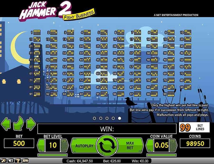 Jack Hammer 2, 99 Winning Pay Lines