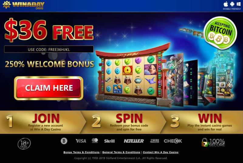 bonus code for win a day casino