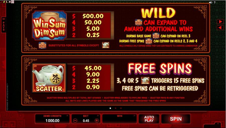 Win Sum Dim Sum Wild Free Spins Table