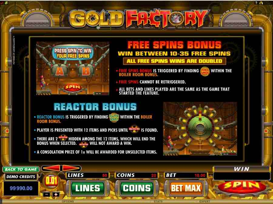 Gold Factory Reactor Bonus Feature