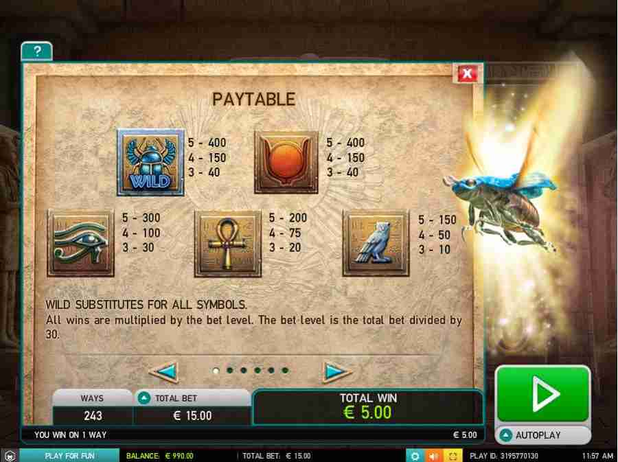 Symbols Paytable