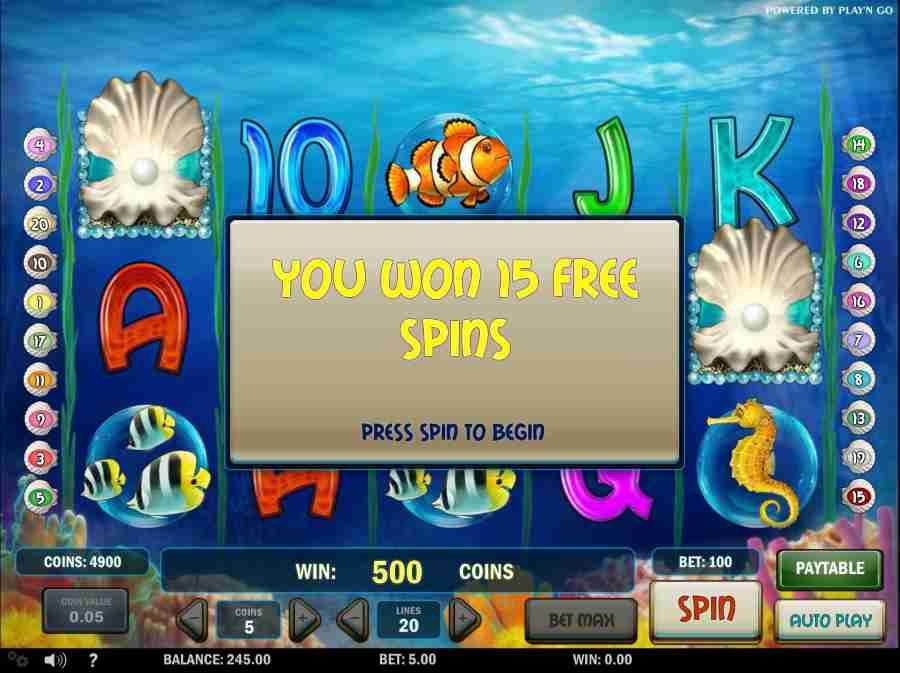 Won Free Spins Screen