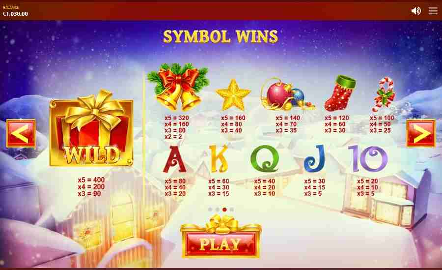 Jingle Bells Symbols Paytable