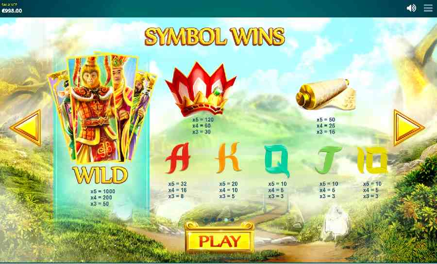 Epic Journey Symbols Pay table