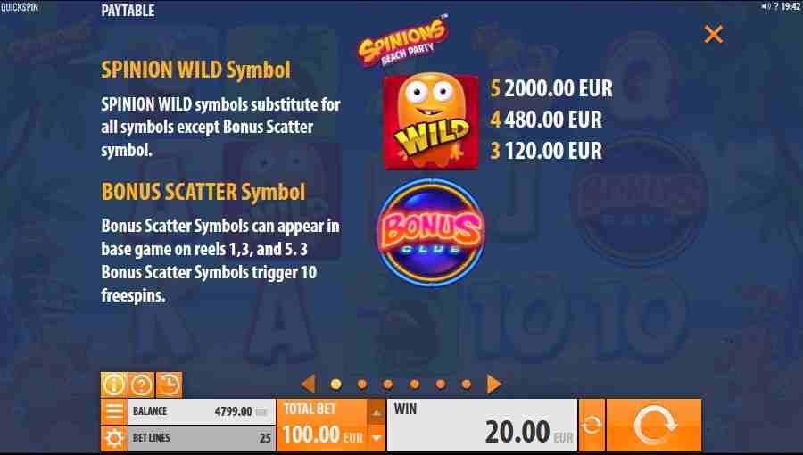 Spinions Beach Party Bonus Symbols Paytable