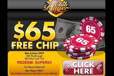Club Player No Deposit Bonus Code SUPER65